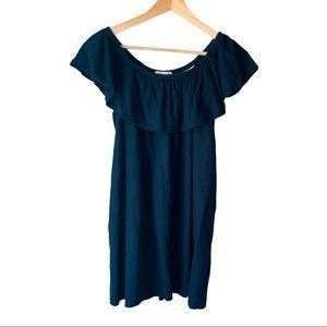 Newbury Kustom Blue Linen Off The Shoulder Dress